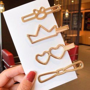 3/$20 Set of 4 Oversized Gold Hair Clips